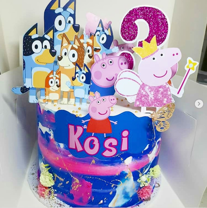 Bluey Peppa birthday cake